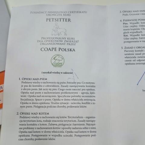 Certyfikat COAPE POLSKA opiekun zwierząt, petsitter, uznawany w Polsce i na świecie ;)